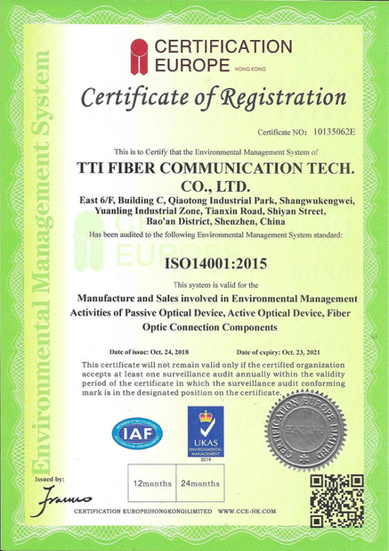 Cina TTI Fiber Communication Tech. Co., Ltd. Sertifikasi